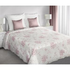 Biele obojstranné prikrývky na posteľ s motívom ružových kvetov