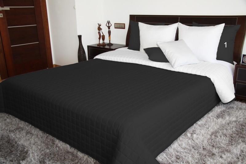 DomTextilu Čierno biely obojstranný prehoz na posteľ prešívaný Šírka: 75 cm   Dĺžka: 160 cm 5676-102884