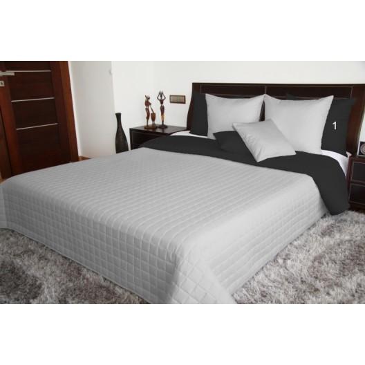 Kvalitné prešívané prikrývky obojstranné na posteľ sivo čiernej farby