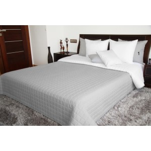 Sivo biele  obojstranné prehozy na posteľ s prešívaním