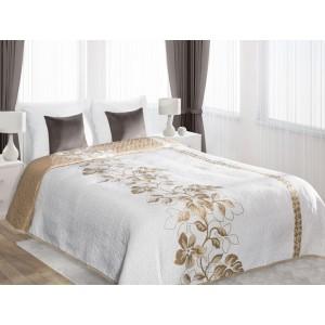 Luxusné biele obojstranné prikrývky na dvojposteľ so zlatým motívom