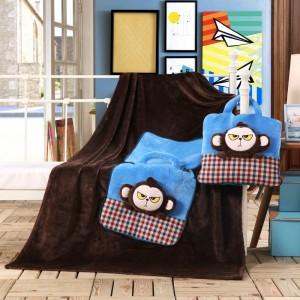 Detské deky 3v1 v hnedej farbe s motívom malých opíc