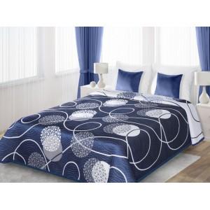 Modro biele obojstranné prehozy na posteľ s bielymi guľami