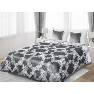 Obojstranná prikrývka na manželskú posteľ sivej farby s bielymi kvetmi