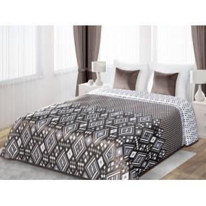 Obojstranné prehozy cez posteľ hnedej farby s bielým motívom
