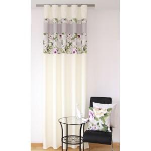 Moderné závesy krémové do obývačky s kvetinovým motívom