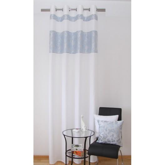 Biele luxusné hotové závesy s modrým motívom