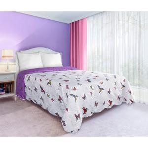 Bielo fialové obojstranné prikrývky na posteľ s motívom motýľov a vtákov