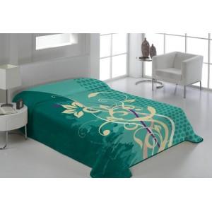 Tyrkysová deka na posteľ s ornamentami