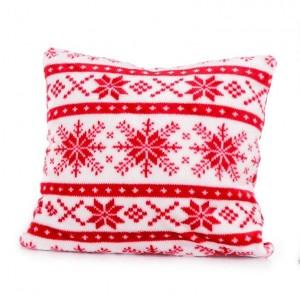 Dekoratívna červeno biela obliečka na vankúšik so snehovými vločkami