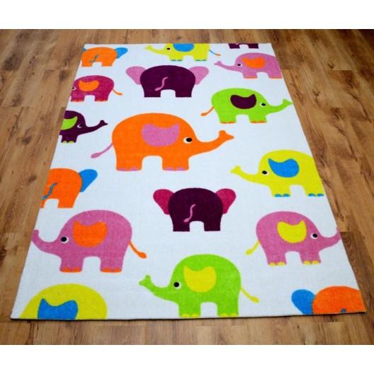 Detský biely koberec so sloníkmi