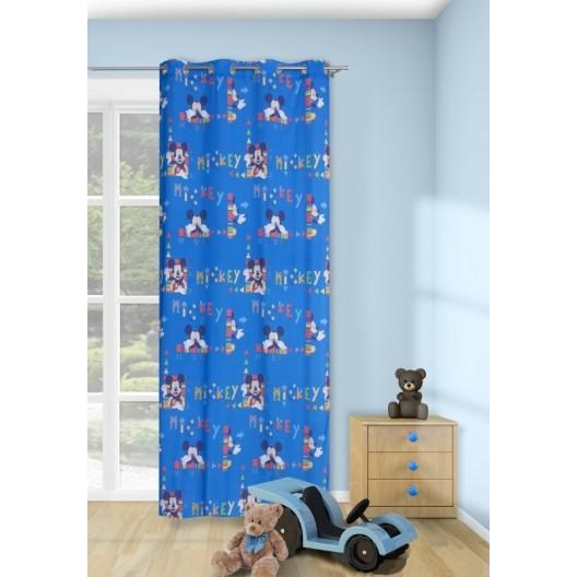 Modrý záves pre deti s motívom Disney Mike