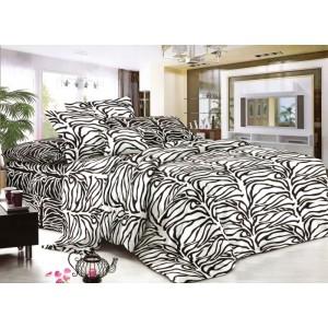 Prikrývky na postele bielo čierne so vzorom listov