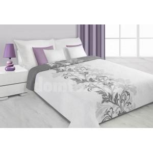 Prehoz na posteľ bielej farby so sivými kvetmi