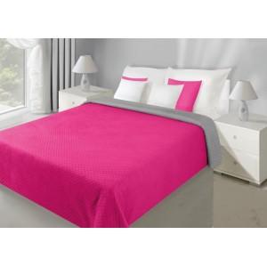 Ružovo sivý obojstranný prehoz na posteľ