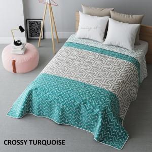 Tyrkysový obojstranný prehoz na posteľ