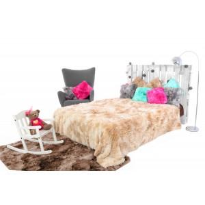 OMBRE chlpatá deka na posteľ béžovej farby