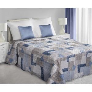 Patchwork sivo modrý so srdiečkovým vzorom