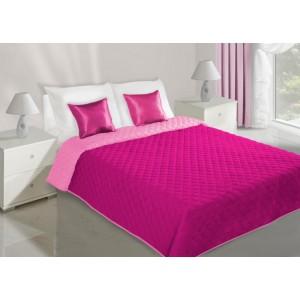 Obojstranná prikrývka na manželskú posteľ ružovej farbe s prešívaným vzorom