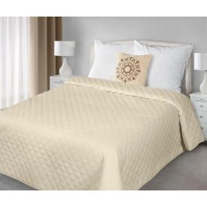 Béžové obojstranné prikrývky na posteľ prešívané