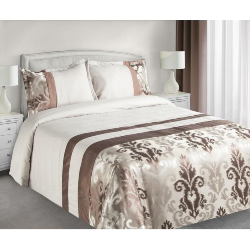 58dce7cff2439 Krémovo hnedé obojstranné prikrývky na posteľ s abstraktnými oranamentmi