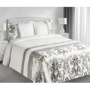 Luxusné biele obojstranné prikrývky na dvojposteľ krémovej farby s sivým vzorom