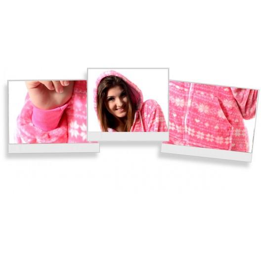 Ružový dámsky pyžamový overal v severskom štýle