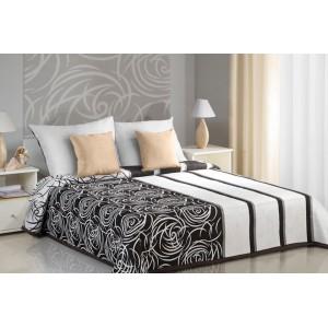 Krémovo hnedé obojstranné prikrývky na posteľ s abstrakným vzorom
