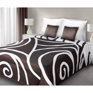 Luxusné obojstranné prehozy na posteľ bielej farby s hnedým vzorom