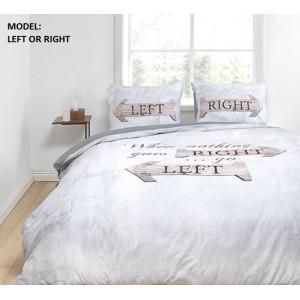 Bavlnené sivé posteľné návliečky s nápisom