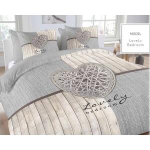Moderné bavlnené posteľné obliečky sivo béžové s romantickým vzorom