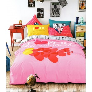 Detské posteľné obliečky v ružovo sivej farbe so srdiečkami
