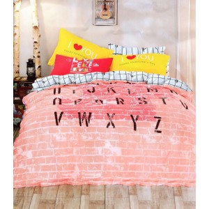 Ružovo biele 3D posteľné obliečky s písmenkami 160x200