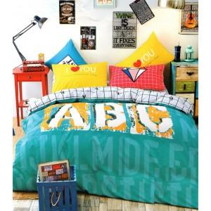 Tyrkysové detské obliečky na posteľ so vzorom písmen 160x200