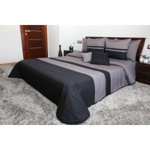 Prešívané sivo čierne prikrývky na posteľ