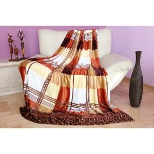 Luxusná deka v hnedo béžovej farbe s kockovaným vzorom