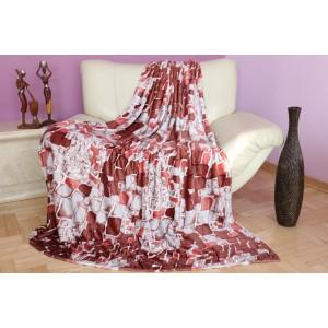 Dekoratívne deky a prikrývky sivo bordovej farby