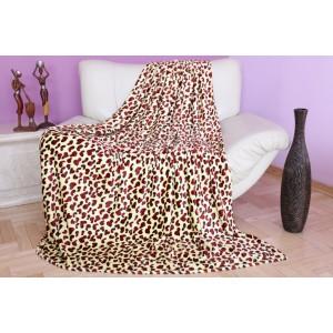 Krémová deka na posteľ s bordovými srdciami