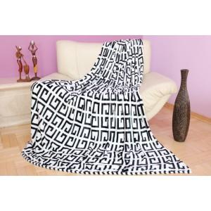 Dekoračná deka a prikrývka v bielo čiernej farbe