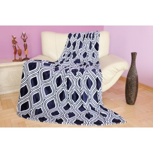 Luxusná deka v tmavo modrej farbe s bielym motívom