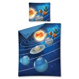 Modré detské posteľné obliečky s motívom vesmíru