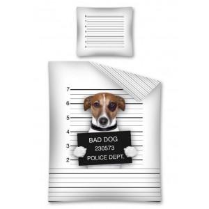 Bavlnené posteľné obliečky s motívom psa za mrežami