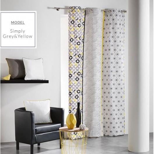Dekoračné sivo žlté závesy na okno v škandinávskom štýle so vzorom geometrických útvarov