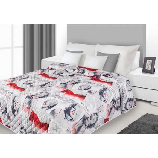 Bielo červené prikrývky na posteľ Marilyn Monroe