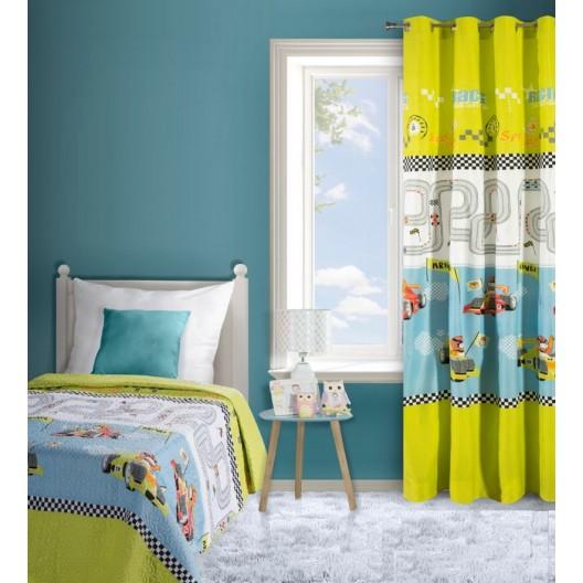 Kvalitné prehozy na detskú posteľ v zeleno bielej farbe a motívom formúl