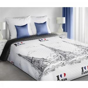 Moderné prehozy PARIS na posteľ bielo čiernej farby