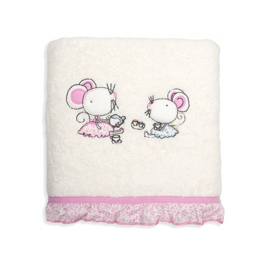 Dievčenské bavlnené uteráky krémovo ružovej farby