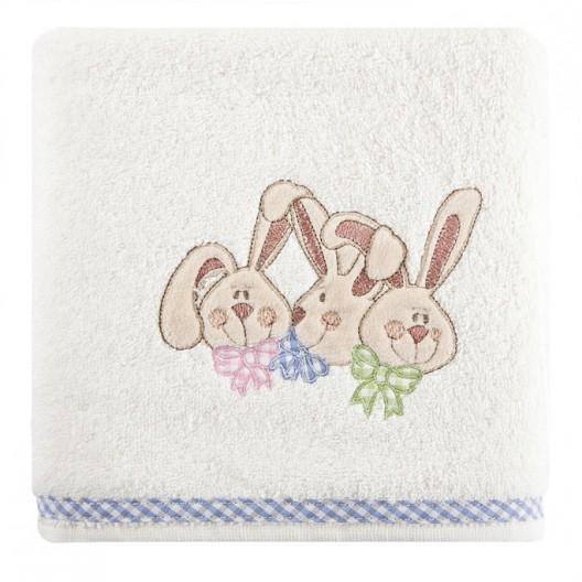 Detské bavlnené uteráky krémovej farby so zajačikmi