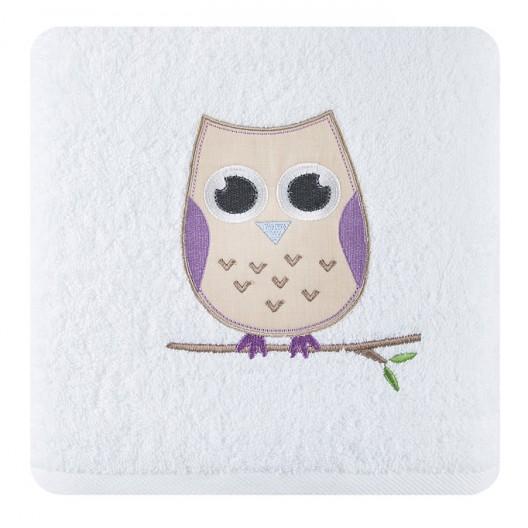 Krémové bavlnené osušky pre deti so sovou