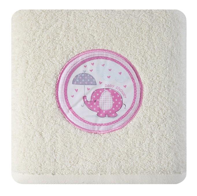 DomTextilu Krémová osuška pre novorodencov so sloníkom Šírka: 50 cm   Dĺžka: 90 cm 6924-19098